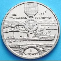 Остров Мэн 1 крона 2004 год. Военная медаль Норвегии