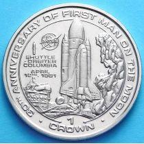 Остров Мэн 1 крона 1999 год. 30 лет Первому полету человека на Луну