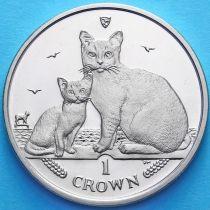 Остров Мэн 1 крона 2008 год. Кошки Бурмилла.