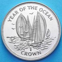 Остров Мэн 1 крона 1998 год. Парусник