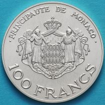 Монако 100 франков 1982 год. Наследник престола Принц Альберт. Серебро.