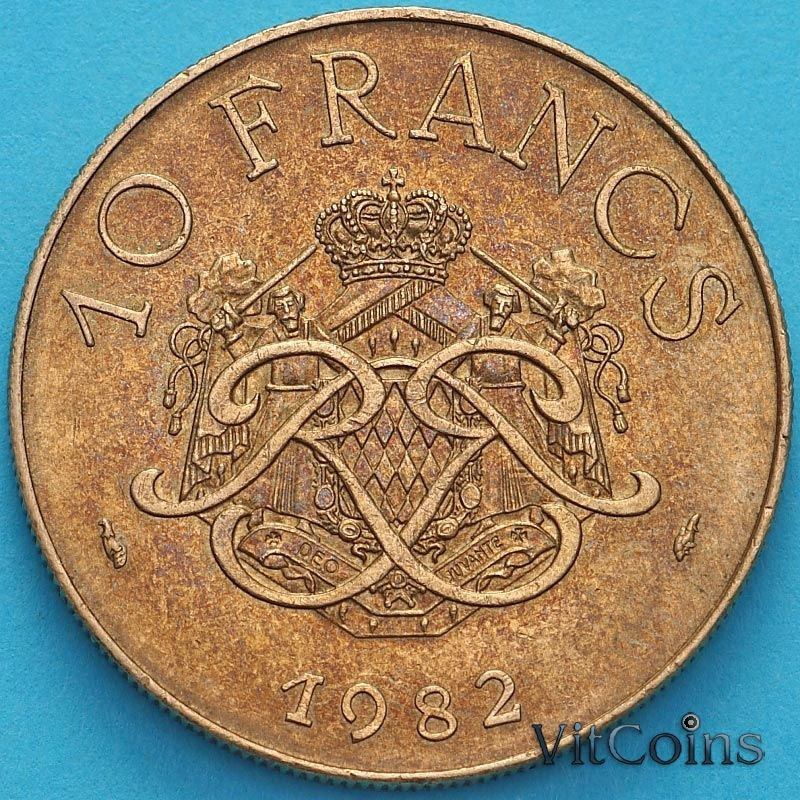 Монета Монако 10 франков 1982 год.
