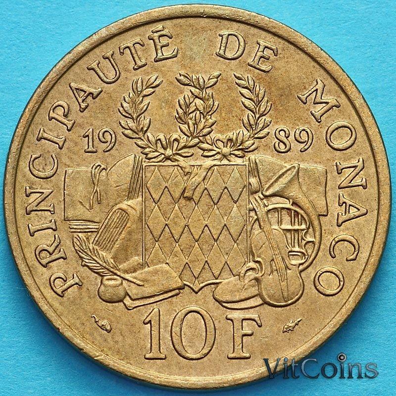 Монета Монако 10 франков 1989 год. 25 лет со дня смерти Принца Пьера