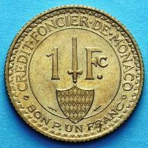 Монако 1 франк 1926 год. Геракл с луком. UNC. №1