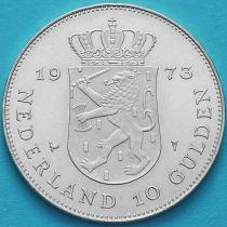 Нидерланды 10 гульденов 1973 год. 25 лет правления Юлианы. Серебро. №2
