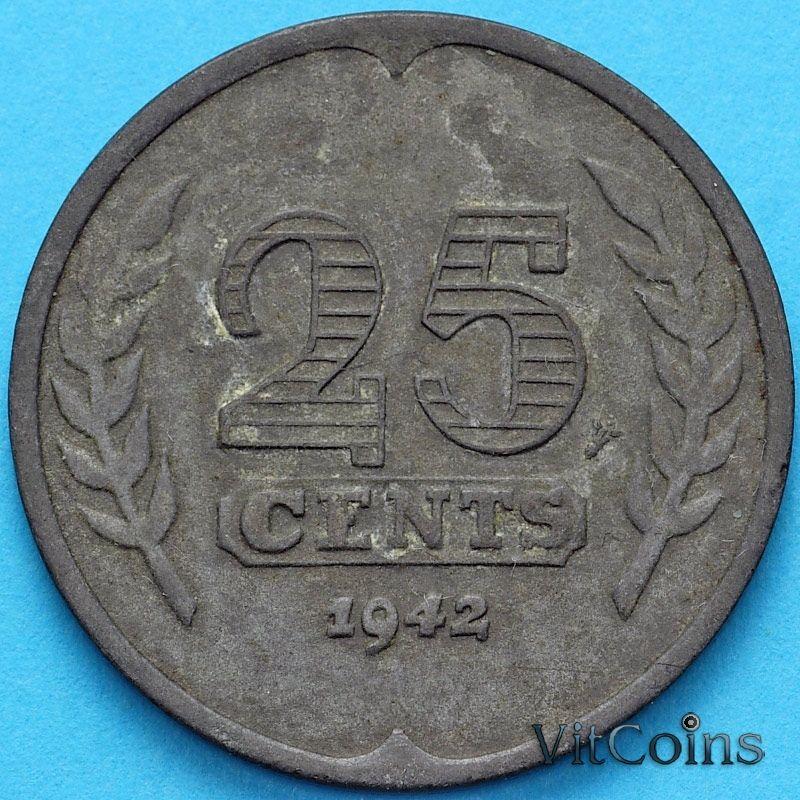 Монета Нидерланды 25 центов 1942 год.