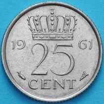 Нидерланды 25 центов 1957-1961 год. Рыбка.