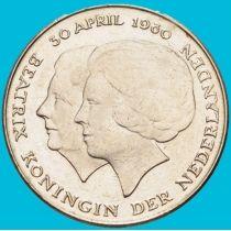 Нидерланды 1 гульден 1980 год. Юлиана и Беатрис. Юбилейная.