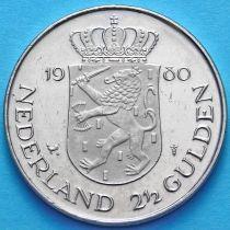 Нидерланды 2 1/2 гульдена 1980 год. Коронация Беатрис.