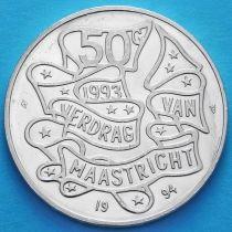 Нидерланды 50 гульденов 1994 год. Маастрихтский договор. Серебро.