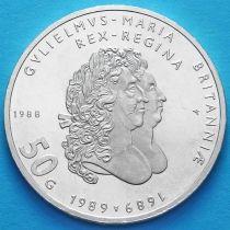 Нидерланды 50 гульденов 1988 год. Серебро.