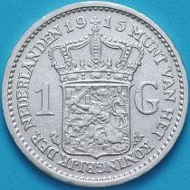 Нидерланды 1 гульден 1915 год. Серебро.