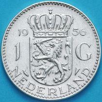 Нидерланды 1 гульден 1956 год. Серебро.
