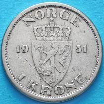 Норвегия 1 крона 1951 год.