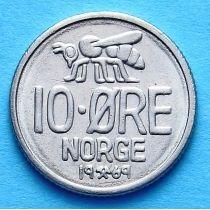 Норвегия 10 эре 1960-1973 год. Пчела.