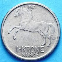 Норвегия 1 крона 1962-1973 год. Лошадь.