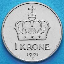 Норвегия 1 крона 1991 год.