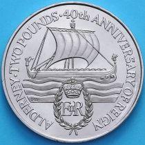 Олдерни 2 фунта 1992 год. 40 лет правлению Королевы Елизаветы II