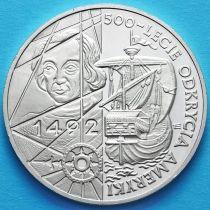 Польша 200000 злотых 1992 год. 500 лет открытию Америки. Серебро.