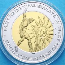 Польша 10 злотых 2006 год. ЧМ по футболу 2006 года в Германии. Серебро. Позолота.