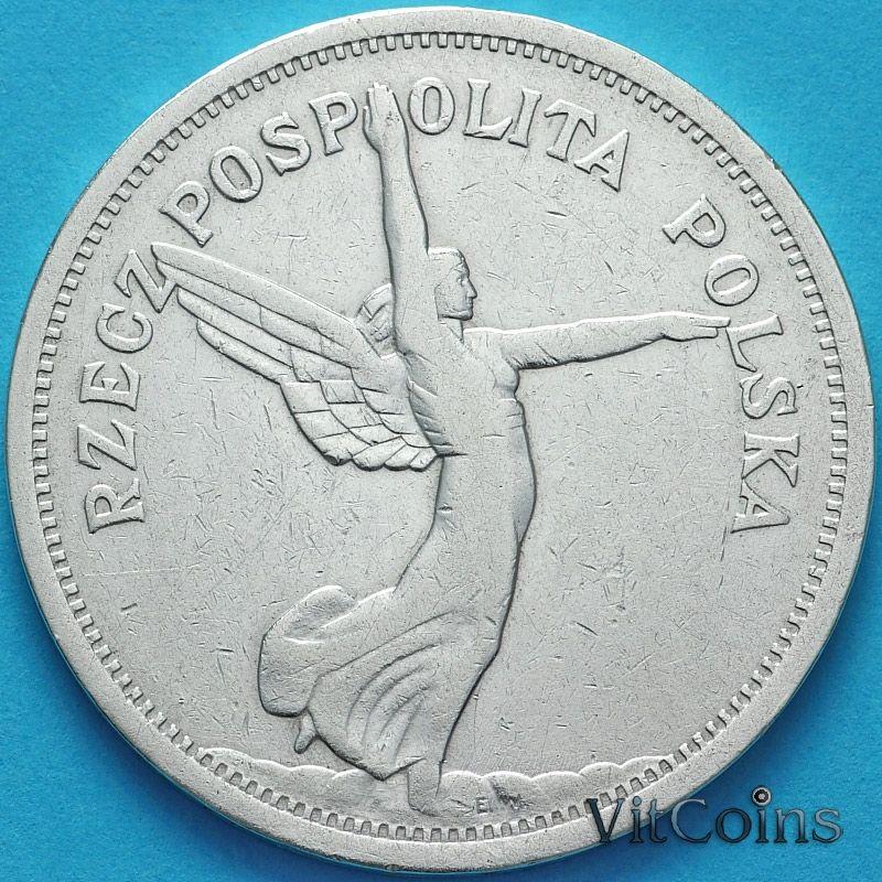 Серебряная монета Польши 5 злотых 1928 год. Ника. Серебро