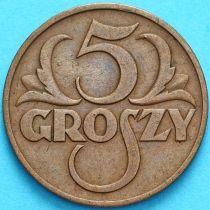 Польша 5 грошей 1937 год.