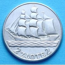 Польша 2 злотых 1936 год. Парусник. Серебро
