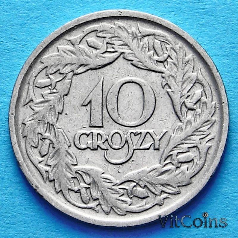 Монета Польши 10 грошей 1923 год.