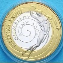 Польша 10 злотых 2004 год. Олимпиада в Афинах. Дискобол. Серебро