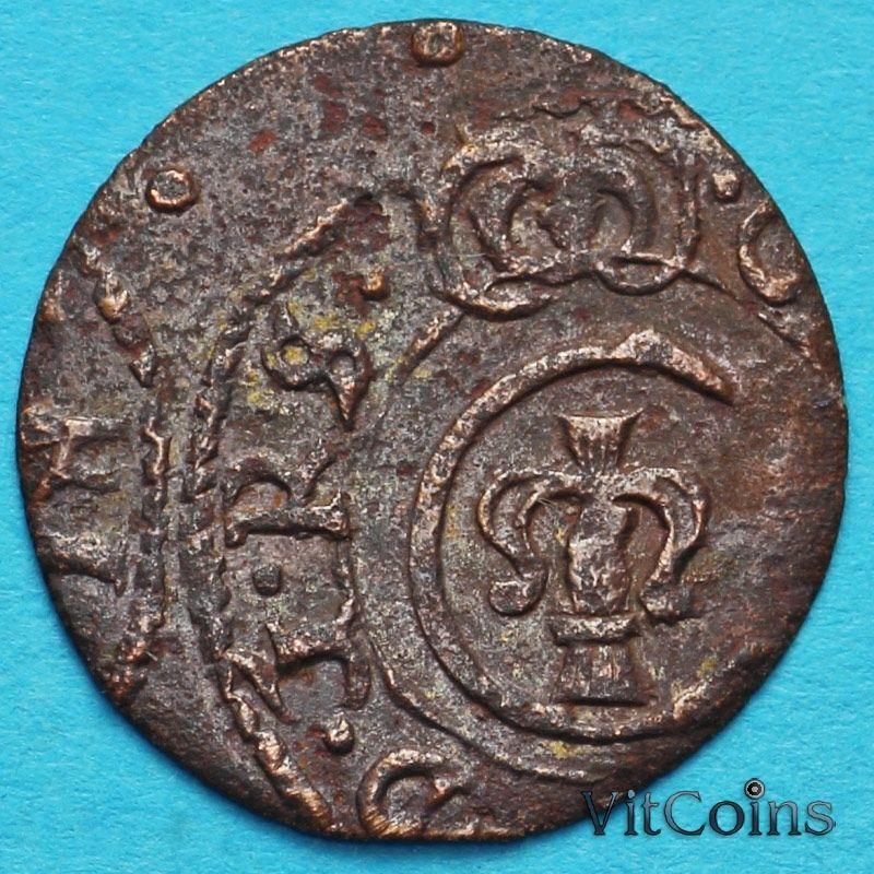 Ливония монета солид 1648 год. Кристина.