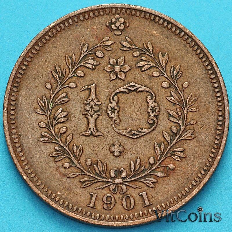 Монета Азорские острова, Португалия 10 рейс 1901 год.