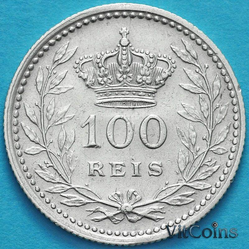 Монета Португалии 100 рейс 1910 год. Серебро.
