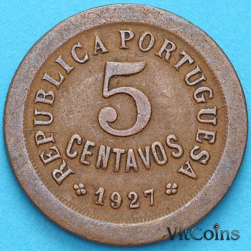 Монета Португалия 5 сентаво 1927 год.№2