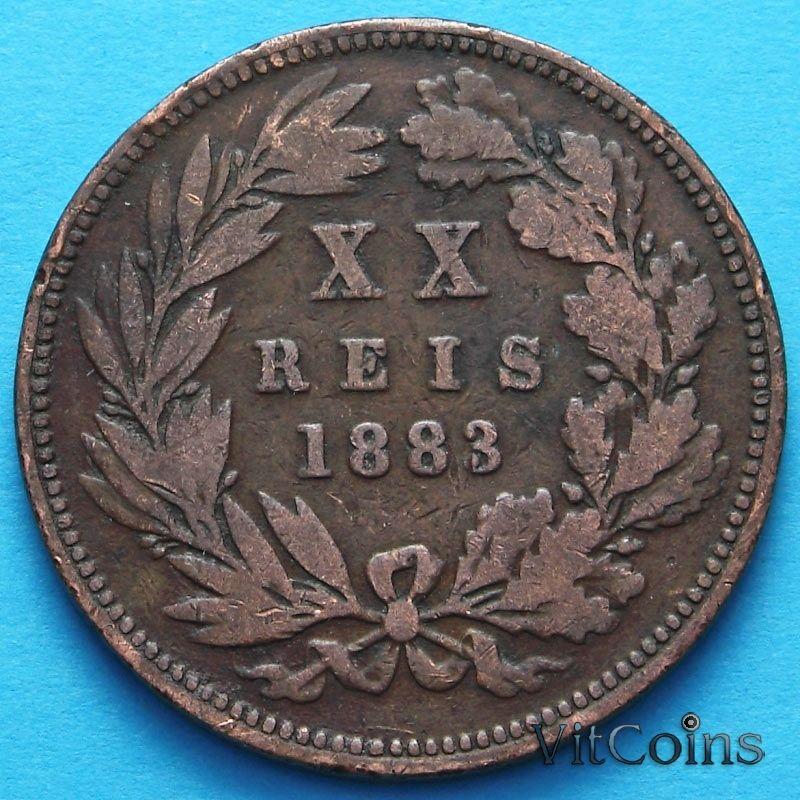 Монета Португалии 20 рейс 1883-1884 год.