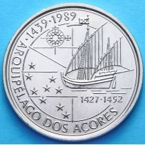 Португалия 100 эскудо 1989 год. Открытие Азорских островов