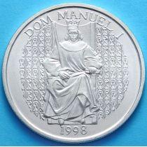 Португалия 1000 эскудо 1998 год. Король Мануэль I. Серебро