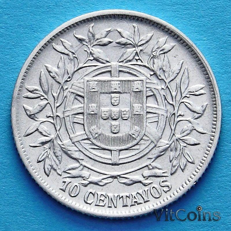 Монета Португалии 10 сентаво 1915 год. Серебро.