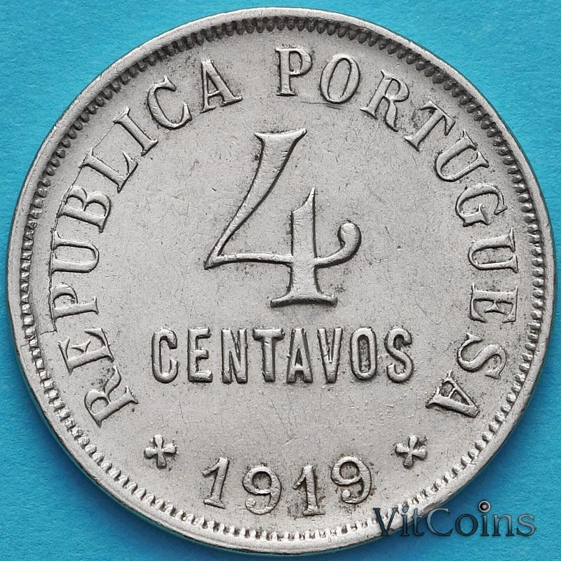Монета Португалия 4 сентаво 1919 год.