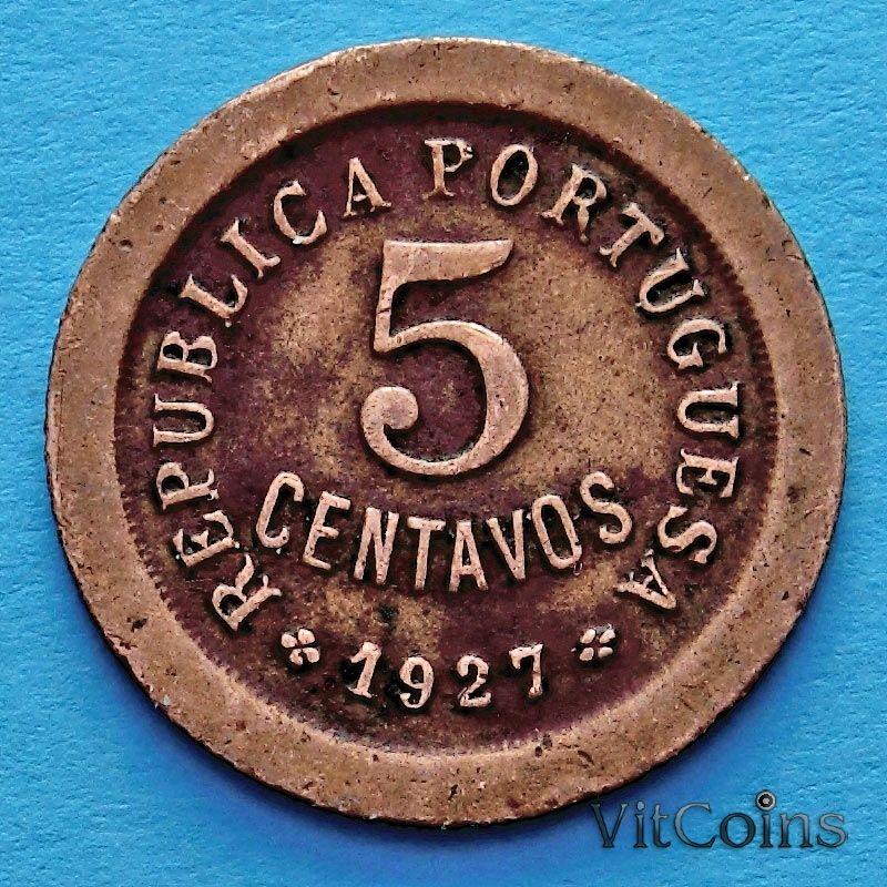 Монета Португалии 5 сентаво 1927 год.
