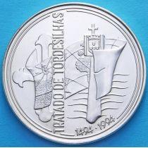 Португалия 1000 эскудо 1994 год. Тордесильясский договор. Серебро