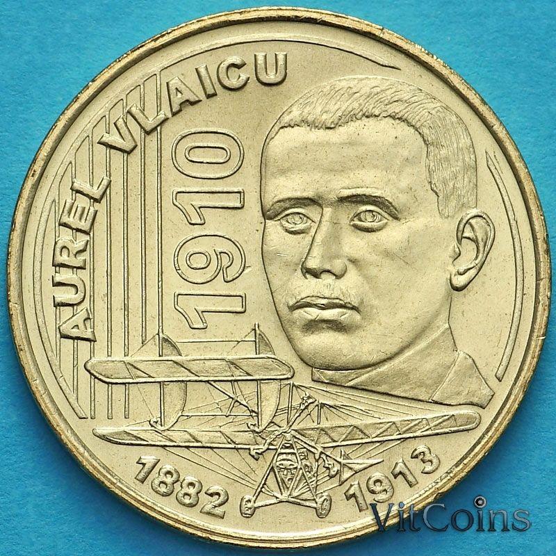 Монета Румыния 50 бань 2010 год. Первый полет Аурела Влайку.