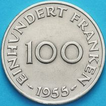 Германия, Саар 100 франков 1955 год.