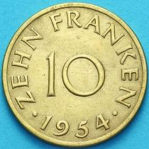 Германия, Саар 10 франков 1954 год. №2