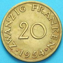 Германия, Саар 20 франков 1954 год.