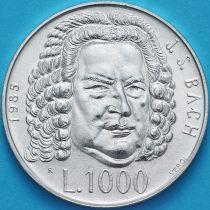Сан Марино 1000  лир 1985 год. Иоганн Себастьян Бах. Серебро.