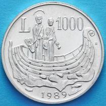 Сан Марино 1000 лир 1989 год. Серебро.