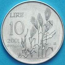 Сан Марино 10 лир 2001 год. Колсья пшеницы.