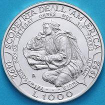 Сан Марино 1000 лир 1992 год. Колумб. Серебро.