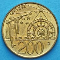 Сан Марино 200 лир 1992 год. Колумб. 500 лет открытию Америки.