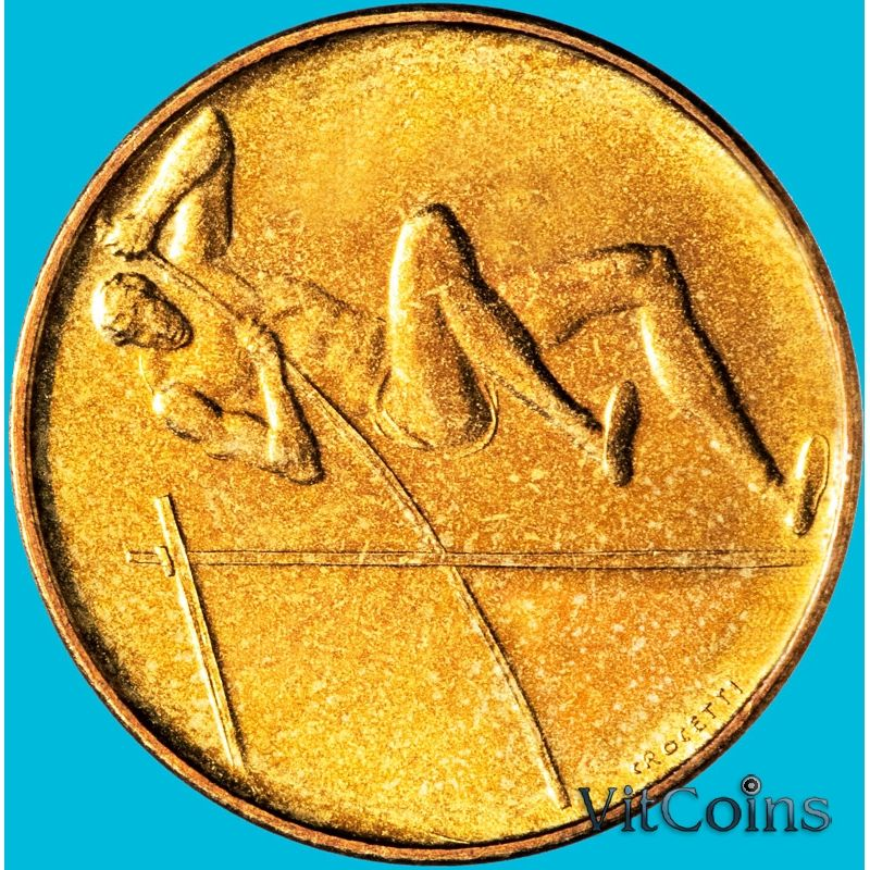 Монета Сан Марино 20 лир 1980 год. Олимпиада. Прыжки с шестом.